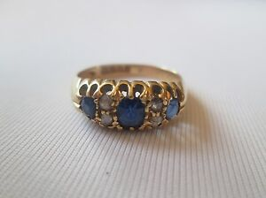 Antique Edwardian 18ct Gold Sapphire And Diamond Ring.
