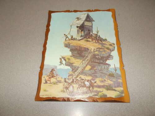 Lloyd Mitchell comic Western art Robbers Roost decoupage wood wall plaque