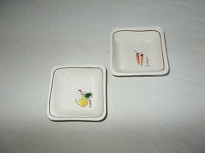 2 Dipping Bowls Square Shaped Porcelain Hand Painted Oriental Soy Sauce Server