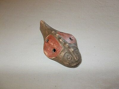 Primitive handmade in Chile fish shaped clay pottery music hand flute