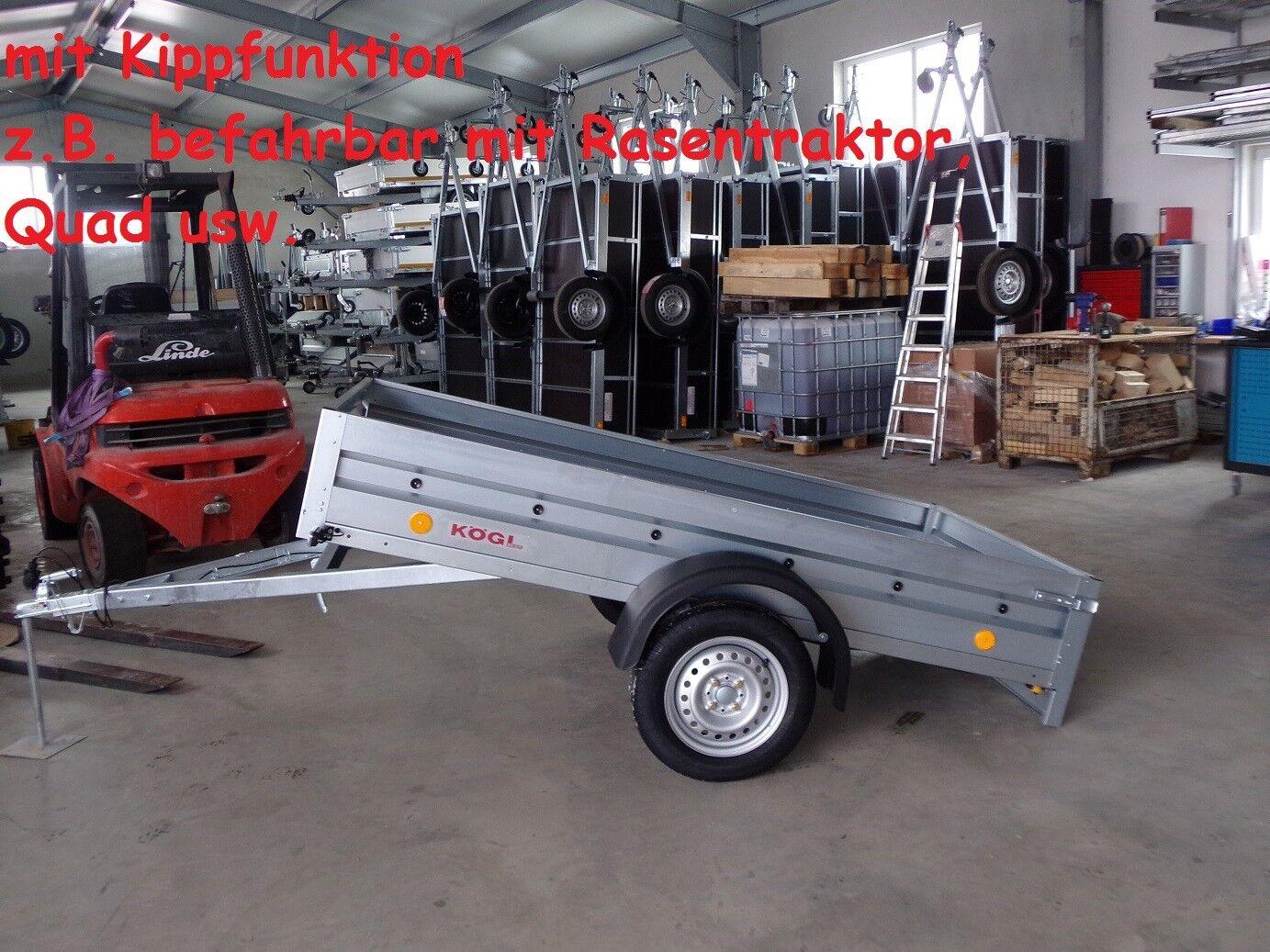 Pkw Anhänger Auto Anhänger 750 kg - 2,35 x 1,29 m - KIPPFUNKTION - Neu