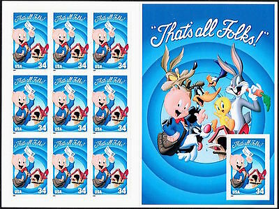 "10 NEW PORKY PIG STAMPS ""That's All Folks!"" Looney Tunes Cartoons Merry Melodies"