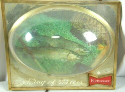 Vintage BUDWEISER King Of Beer Lighted Bubble Sign Trout Fish Bar Advertising