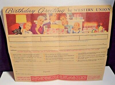 Vintage Western Union Telegram Blank  Birthday Greetings