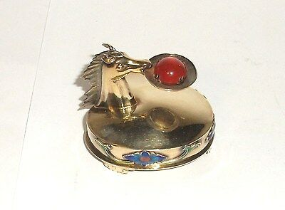 Chinese Silver Horse - CHINESE SILVER CLOISONNE ENAMEL HORSE WITH CARNELIAN STONE PILL SNUFF JAR BOX