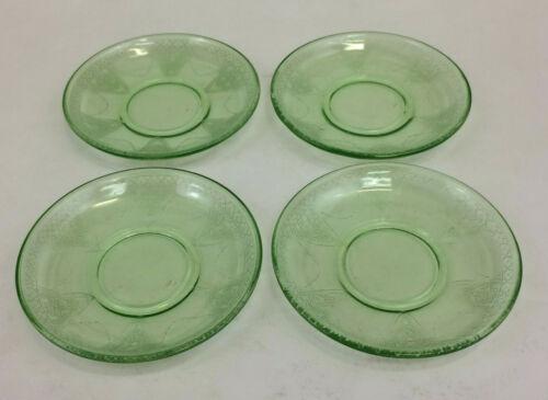 Federal Glass Green Depression Glass Georgian Lovebirds Set of 4 Saucers Vintage