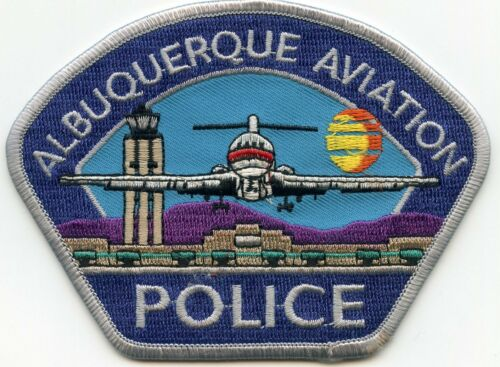 ALBUQUERQUE NEW MEXICO NM Gray Border Gray Letters AVIATION AIRPORT POLICE PATCH