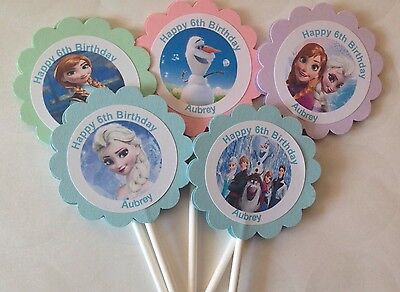 Frozen Elsa Anna Customized Cupcake Toppers/Picks 12 Count