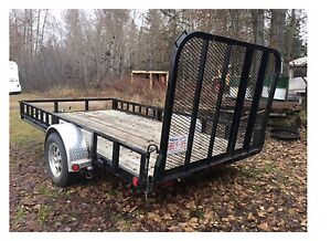 "12' x 77"" single axle utility with attached ramps  Asking $2500"
