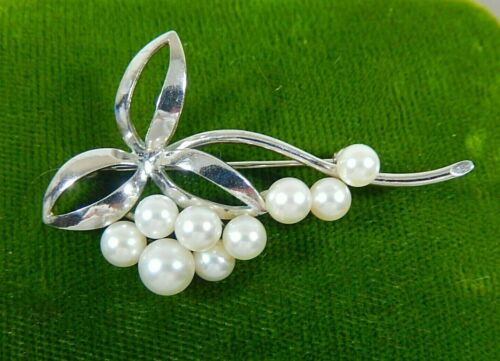 VTG MIKIMOTO STERLING SILVER 9 AKOYA PEARL SPRAY BROOCH PIN SIGNED AUTHENTIC EC