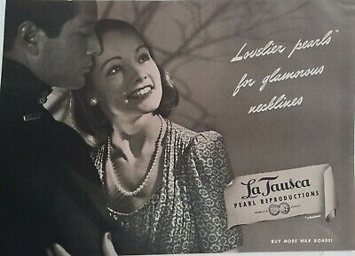 1944 La Tausca pearl necklace earrings vintage jewelry ad
