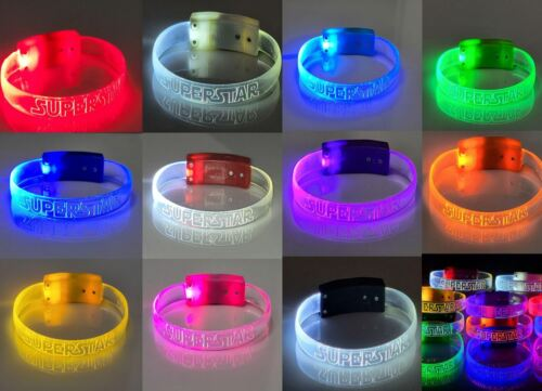 Superstar LED Light Up Wristband Bracelet Glow In The Dark Band Star Party Favor