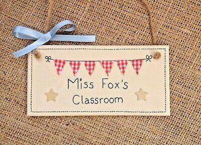 Classroom Sign Bunting Personalised Plaque Welcome Door Gift Present Teacher - Classroom Door Signs