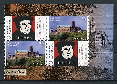 Germany 2017 MNH Reformation Martin Luther Europa Castles 4v Block Pane Stamps