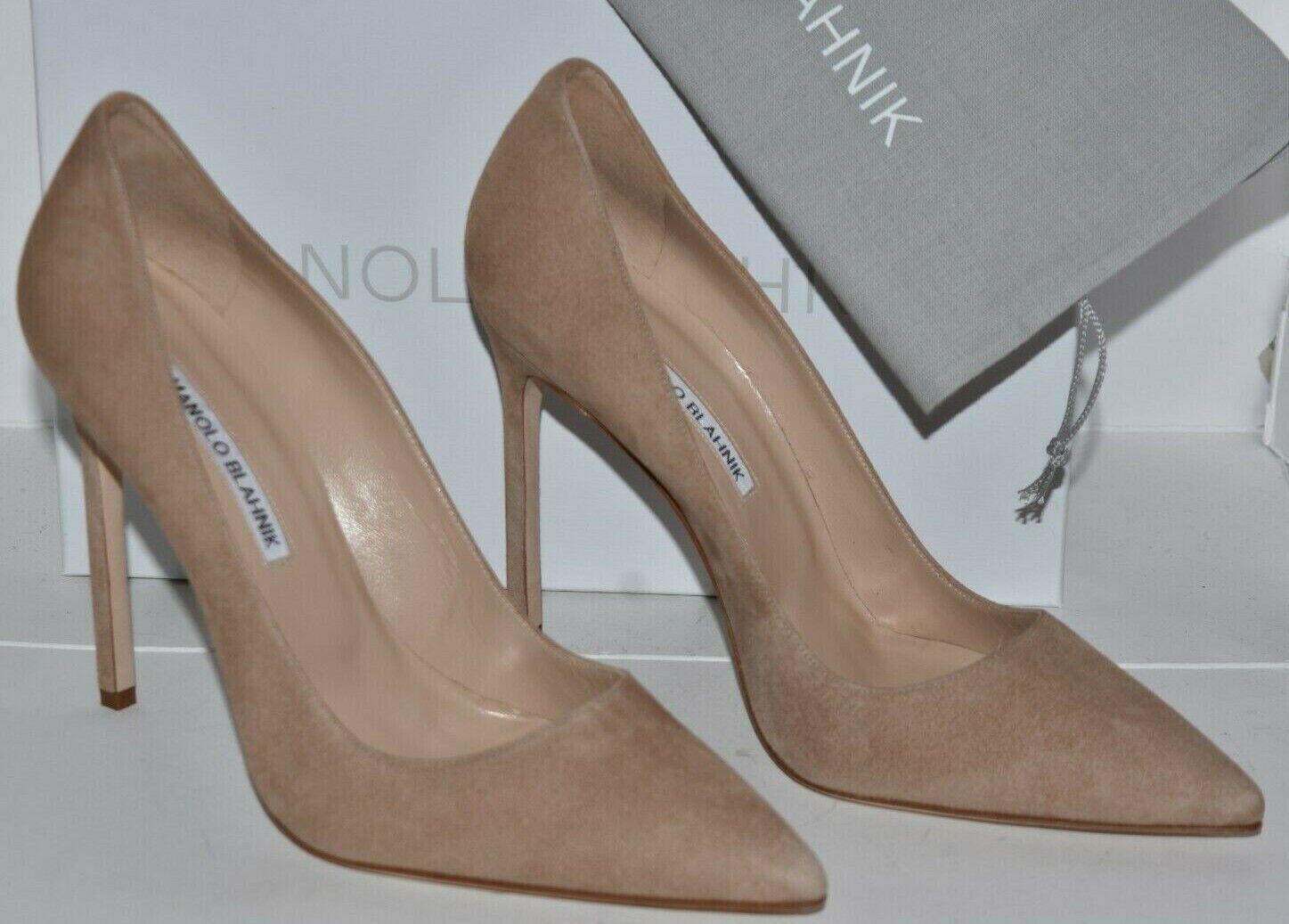 NEW Manolo Blahnik BB 115 Suede NUDE Beige Pumps Heels Shoes 39 405 415