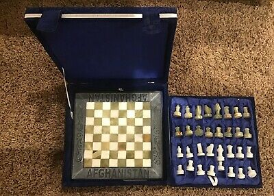 Hand Crafted In Afghanistan Marble Chess Set Never Used / Open Felt Novelty -