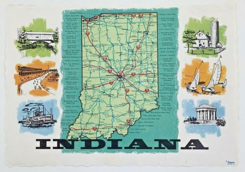 Indiana IN Travel Road Map Vintage Paper Restaurant Placemat Souvenir 1960s