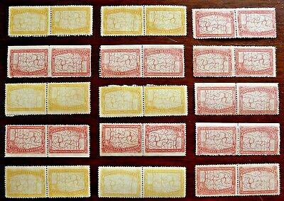 Venezuela 1896 Miranda TETE-BECHE pairs: 9x  50c, 6x 25c, mint