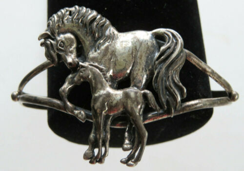 Sterling Silver 925 Horse Mare And Foal Equestrian Cuff Bracelet Vintage Nice