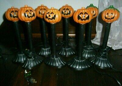 Vtg Halloween Blow mold Jack O'Lantern Pumpkin CANDLE CANDOLIER Light Lamp lot