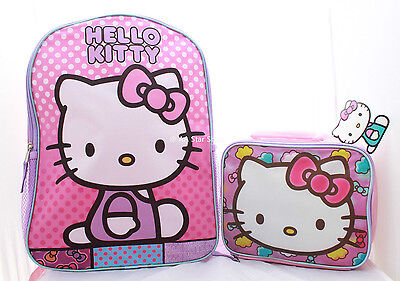 Hello Kitty School Backpack Lunch Box Set Little Girls Cute Pink Book Bag Sanrio
