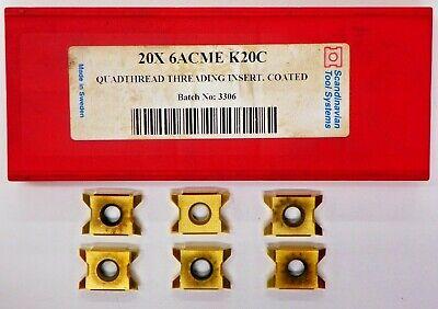 6 Pieces Scandinaivian 20x 6acme K20c Carbide Inserts  F054