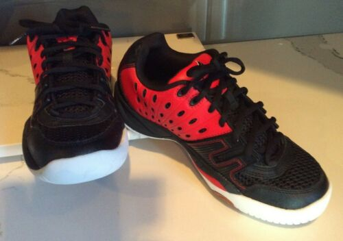 EKTELON PRINCE RACQUETBALL PICKLEBALL SHOES T22 BLACK/RED  MENS 6.5 WOMENS 8 NEW