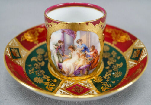 Royal Vienna Style Classical Scene Maroon Green & Gold Demitasse Cup & Saucer B