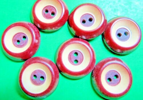 """(7) VINTAGE 3/4"""" BROWN CREAM VEGETABLE IVORY 2-HOLE BUTTONS (T35)"""