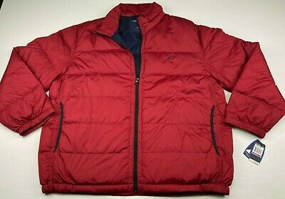 Nautica Men's Quilted Puffer Coat Down Jacket Red Size 2XL NWT Lightweight Down