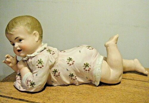 """17"""" Vintage 1940s Very Large Piano Baby Girl Figurine Germany Bisque Porcelain"""