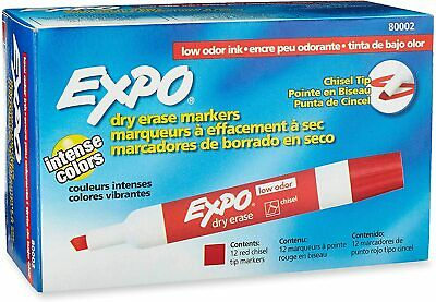 Expo Chisel Dry Erase Markers For Whiteboards 80002 Red 12 Each