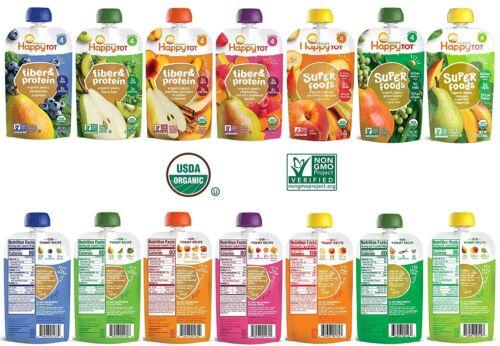 21 Pack   Happy Tot Organic Stage 4 Superfood & Fiber/Protein Varieties