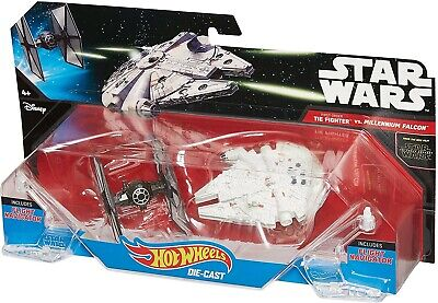 Disney Star Wars Hot Wheels Tie Fighter Vs Millennium Falcon Die Cast Sets