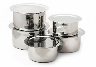 Stainless Steel Cooking Tope Bhagona Pot Set With Lid 5 Pcs For Induction Gas