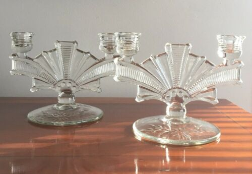 Paden City Glass #330 Cavendish Two Way Candlesticks  Etched Base Art Deco Style