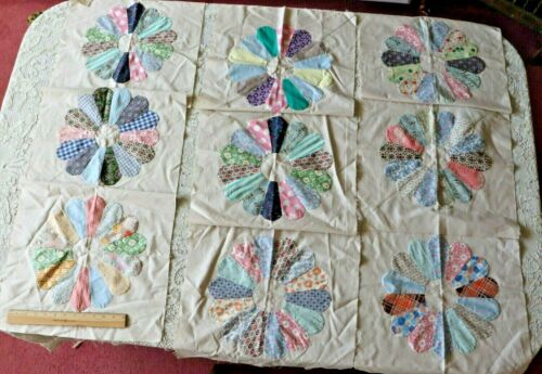 "9  Vintage American Dresden Plate Hand Sewn 16"" Quilt Squares"