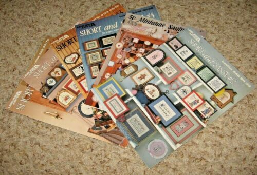 LOT OF 6~MINIATURE SAYINGS~COUNTED CROSS STITCH BOOKLETS/LEAFLETS~GD/VGC~LOT#X