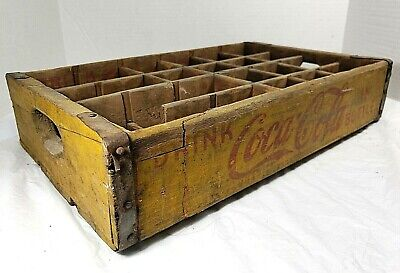 Vintage Coca-Cola Wooden Yellow Soda Pop Crate Carrier Box case wood coke