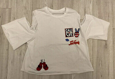 Kendall And Kylie Small Cotton Crop Top California White Limited Edition La Cali