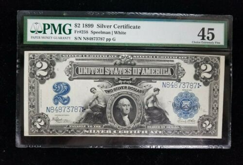 1899 $2 SILVER CERTIFICATE BANKNOTE FR#258 PMG CHOICE EXTREMELY FINE 45 I877