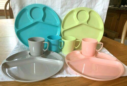 Gothamware Vintage Plastic Plates Cups Picnic Dishes Set Of 4