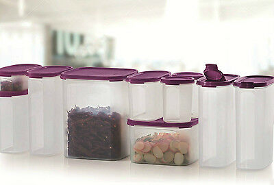 Tupperware Set of 8 Mega Modular Mates Container Purple with Free 2