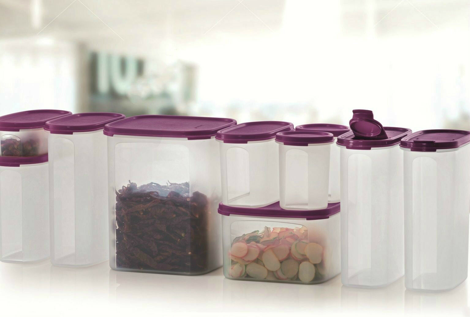 Tupperware Set of 8 Mega Modular Mates Container Purple with Free 2 ...