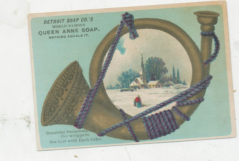 D1388   VICTORIAN TRADE CARD DETROIT SOAP CO QUEEN ANNE BUGGLE HORN