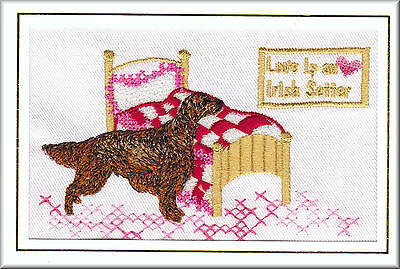 Irish Setter Birthday Card Embroidered by Dogmania - FREE PERSONALISATION