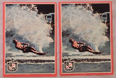 1975 Topps ABC's Wide World Of Sports Water Skiing Card Sticker lot of 2