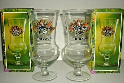 Lot of 2 Rainforest Cafe Hurricane Glasses Chicago Illinois Collectible (Hurricane Glasses Wholesale)