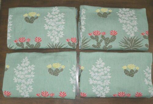 Set of 4 Vintage Woven Cactus Desert Pinch Pleat Curtain Panels Mid Century MCM
