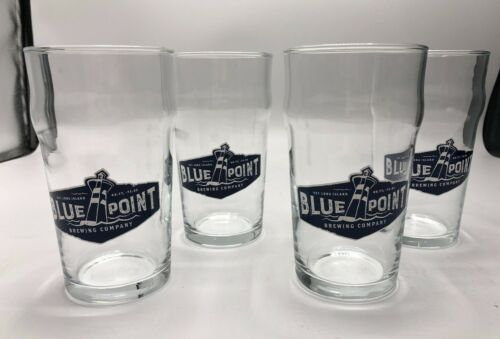 Set of 4 NEW Blue Point Brewing Company Long Island NY 16 Oz. Beer Pint Glasses